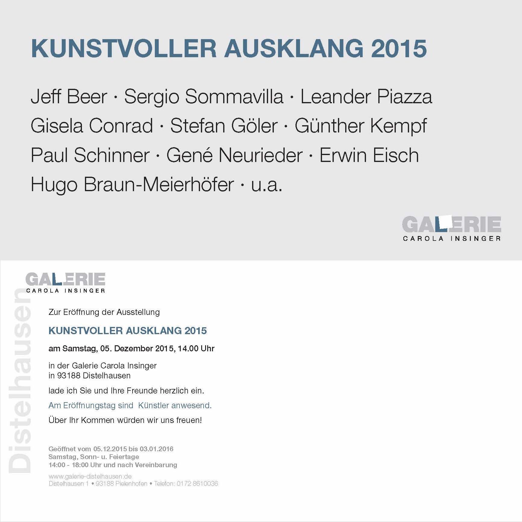 Einladung zur Ausstellung Kunstvoller Ausklang 2015 Sergio Sommavilla